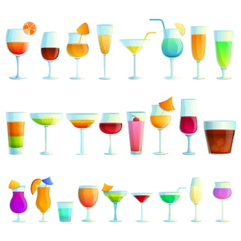 Cocktail icons set