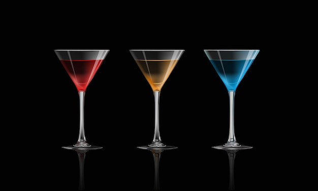 Cocktail isolated on black background