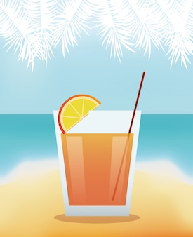 Cocktail lime alcohol with beach background