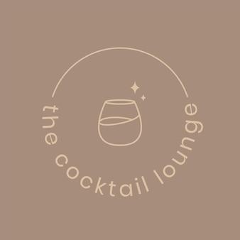 Шаблон логотипа коктейль-лаундж с минимальной иллюстрацией коктейльного бокала