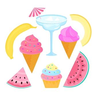カクテル、マルガリータ、バナナ、メロン、フルーツ、アイスクリーム、カップケーキ、スイカ。