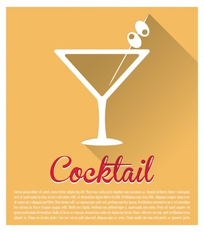 Cocktail martini yellow background