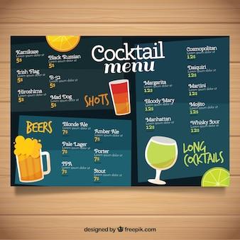 Cocktail menu in blue tones