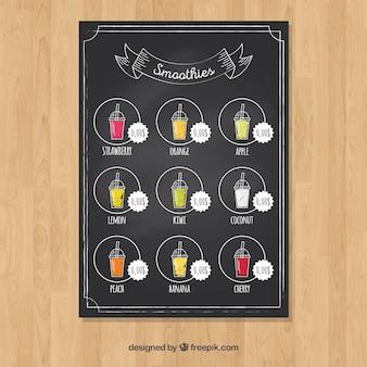 Cocktail menu on chalkboard