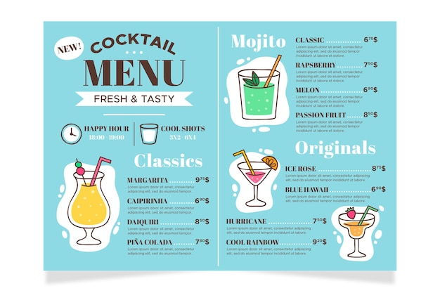 Cocktail menu concept