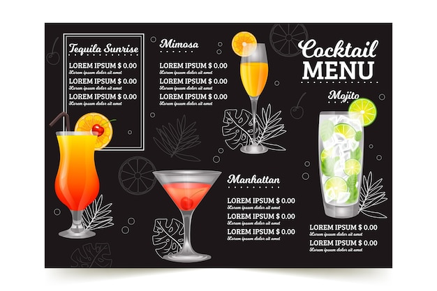 Concetto di menu di cocktail
