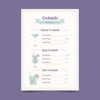 Cocktail menu hand drawn design