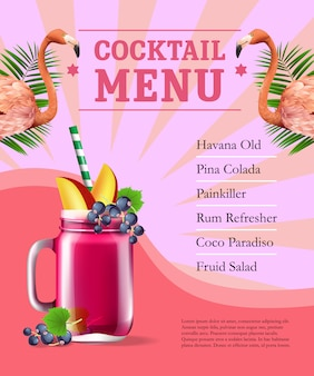 Cocktail menu poster. Fruit juice and flamingoes and palm leaves