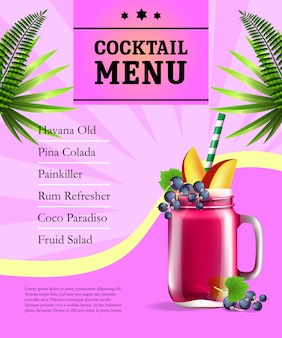Cocktail menu poster. fruit juice jar and palm leaves on pink background with rays.