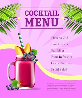 Cocktail menu poster. fruit smoothie and palm leaves on pink background with rays