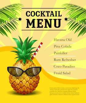 Cocktail menu poster. pineapple in sunglasses and drinking straw