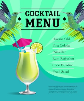 Cocktail menu poster template. Glass with drink, colibri birds on green