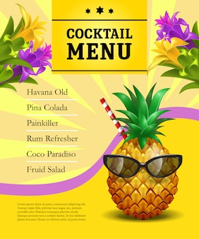 Cocktail menu poster template. pineapple in sunglasses with drinking straw