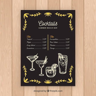 Cocktail menu template in blackboard style