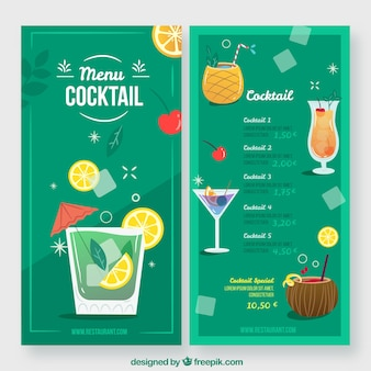 Cocktail menu template in flat style