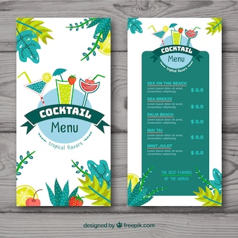 Cocktail menu template in hand drawn style