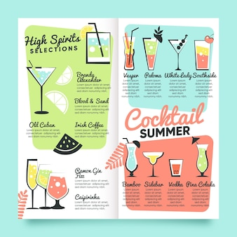 Cocktail menu template hand drawn