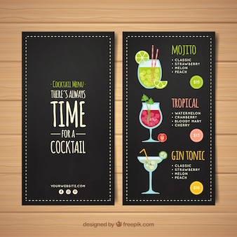 Cocktail menu template in blackboard style
