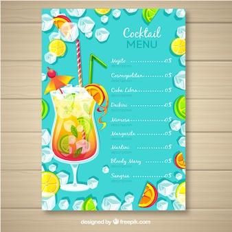 Шаблон меню коктейля в плоском стиле