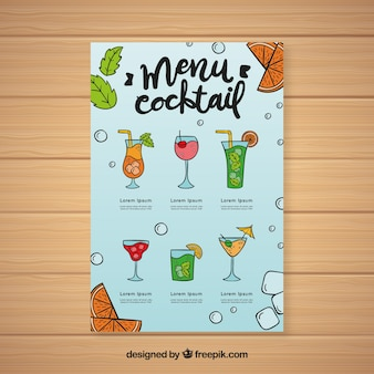Cocktail menu template with different drinks