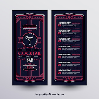 Cocktail menu template with elegant style