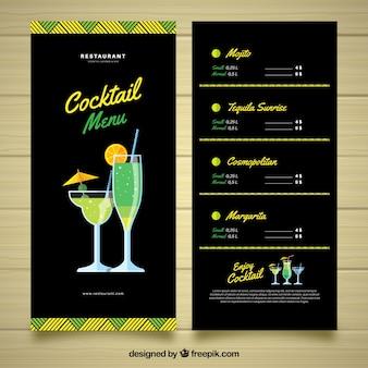 Modello di menu cocktail con stile elegante