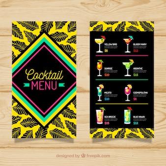 Шаблон меню коктейля с плоским дизайном
