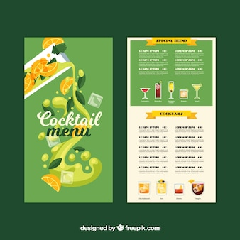 Cocktail menu template with flat design