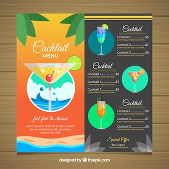 Cocktail menu template with palm leaves