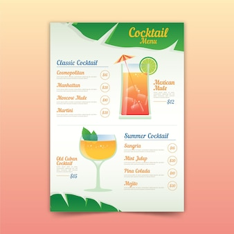 Cocktail menu template