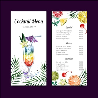 Cocktail menu watercolor template design