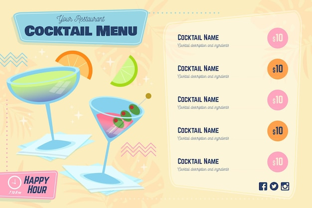 Cocktail menu with slices of citrus