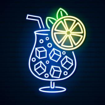 カクテルネオンサイン、明るい看板、軽いバナー。カクテルのロゴのエンブレム