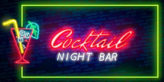 Cocktail neon sign of night club