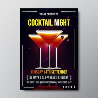 Cocktail night poster template vector