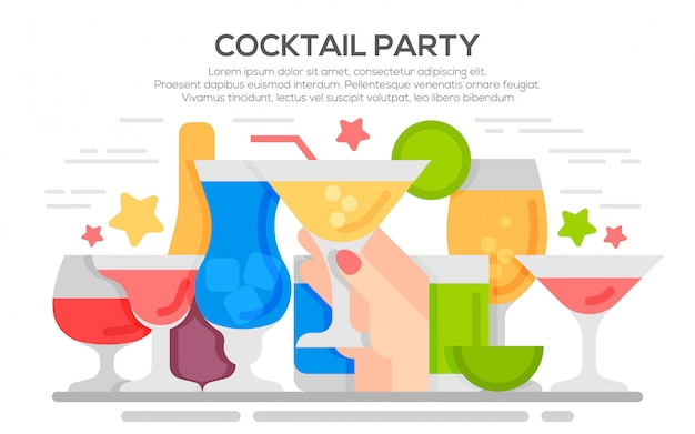 Cocktail party invitation concept template
