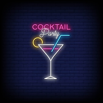 Cocktail party neon signs style text