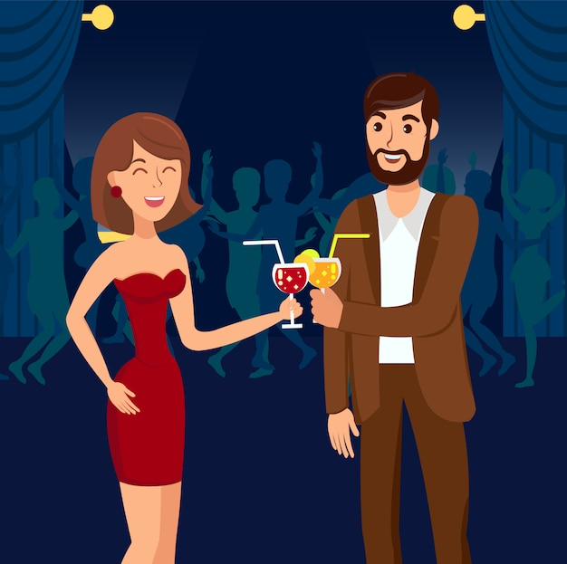 Cocktail party at nightclub vector illustration
