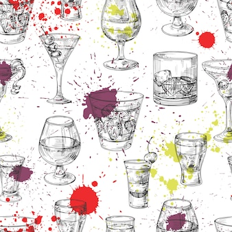 Cocktail party  seamless pattern with hand drawn drinks and splashes