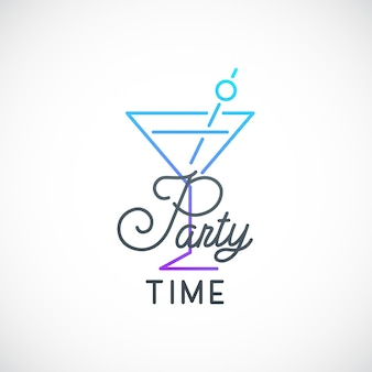 Cocktail party simple emblem