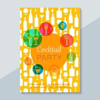칵테일 파티 템플릿입니다. flayer, 초대장, 포스터 디자인. 벡터. 라인 아트 플랫 스타일의 칵테일 잔이 있는 카드.
