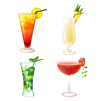Cocktail realistic set