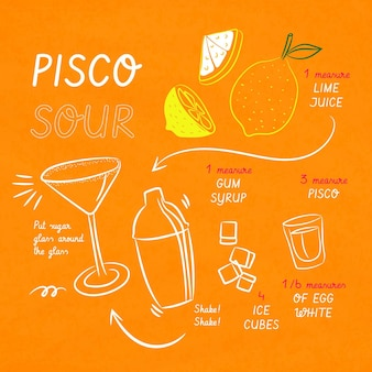 ピスコサワーのカクテルレシピ
