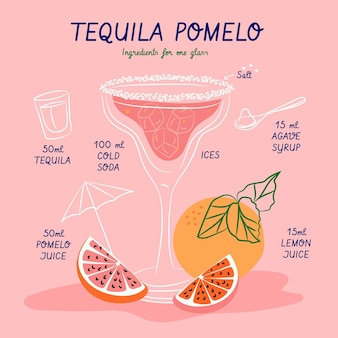 Cocktail recipe for tequila pomelo