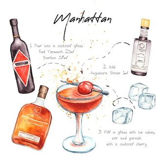Cocktail recipe with ingredients