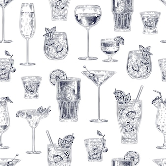 칵테일 완벽 한 패턴입니다. 손으로 그린 알코올 음료 칵테일에는 다양한 안경과 잔 벽지 바 메뉴 빈티지 벡터 질감이 있습니다. 체리 칵테일, 샴페인, 피나 콜라다와 같은 스케치 음료
