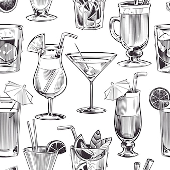 Cocktail seamless pattern. hand drawn cocktails and alcohols drink with different wineglasses, bar menu.  texture illustration