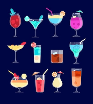 Cocktail set. iced alcohol drinks in glasses with straw, lemon. caipirinha, whiskey and mojito, pina colada cocktail vector bar drinks. cocktail alcohol, whiskey and refreshment drink illustration