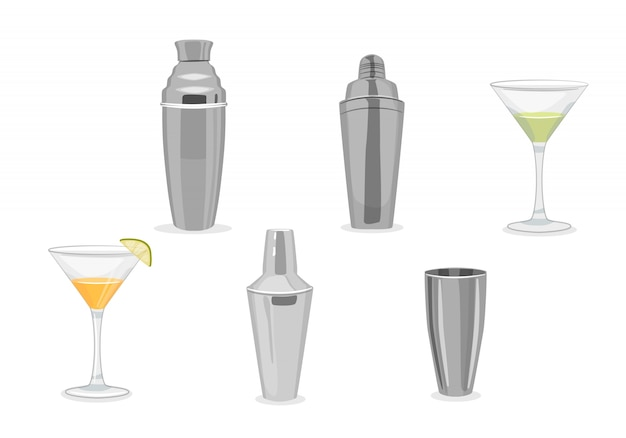 Cocktail shakers and glasses