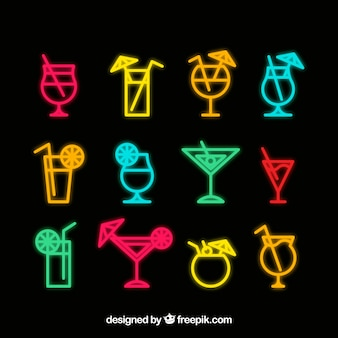 Cocktail sign collection with neon style